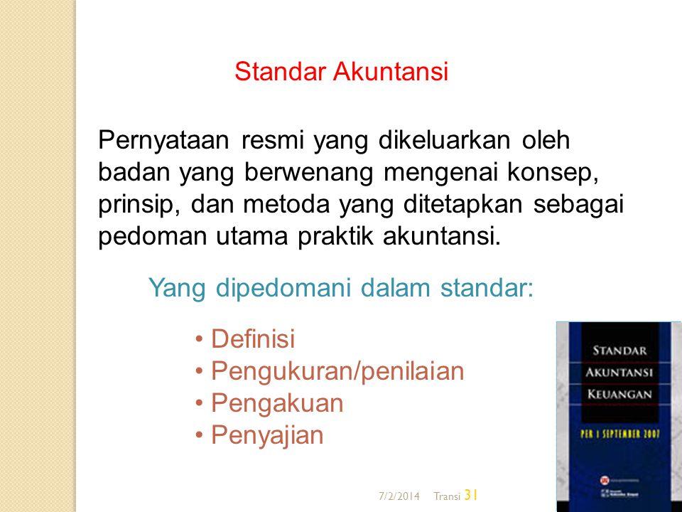 7/2/2014 Transi 31 Standar Akuntansi Pernyataan resmi yang dikeluarkan oleh badan yang berwenang mengenai konsep, prinsip, dan metoda yang ditetapkan