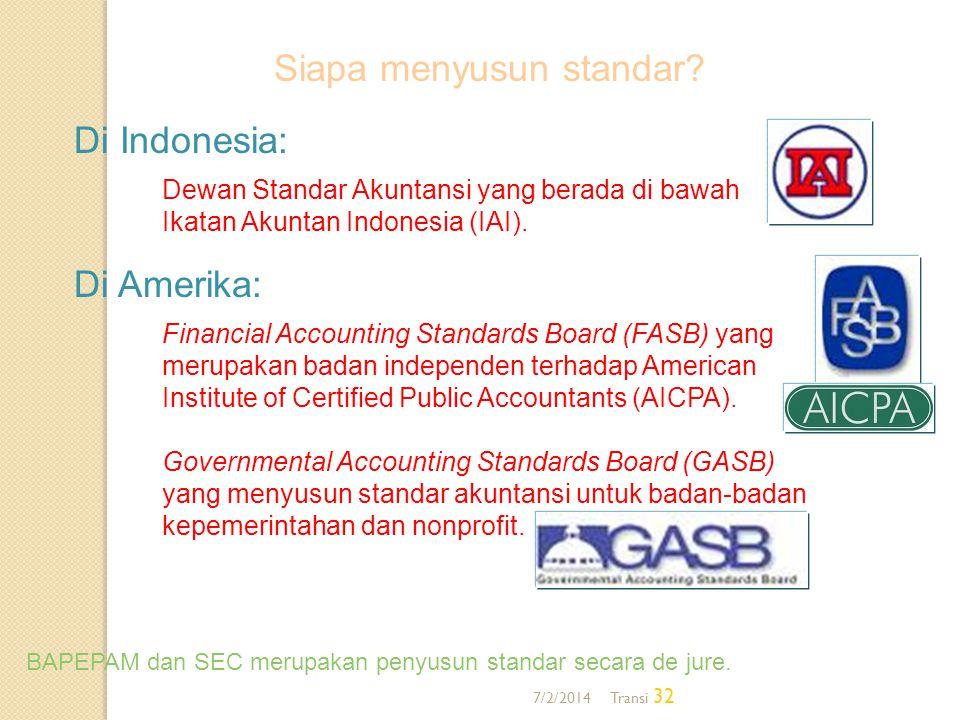 7/2/2014 Transi 32 Di Indonesia: Dewan Standar Akuntansi yang berada di bawah Ikatan Akuntan Indonesia (IAI). Di Amerika: Financial Accounting Standar