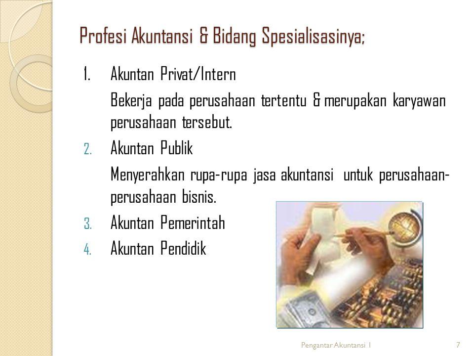 Profesi Akuntansi & Bidang Spesialisasinya; 1.
