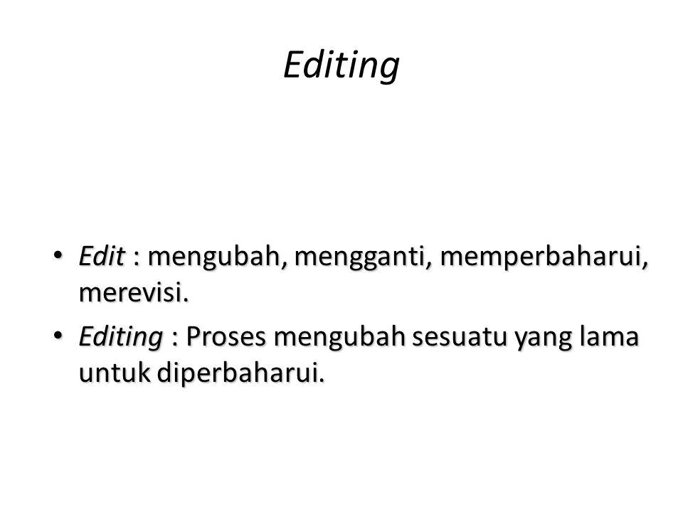 Editing • Edit : mengubah, mengganti, memperbaharui, merevisi.
