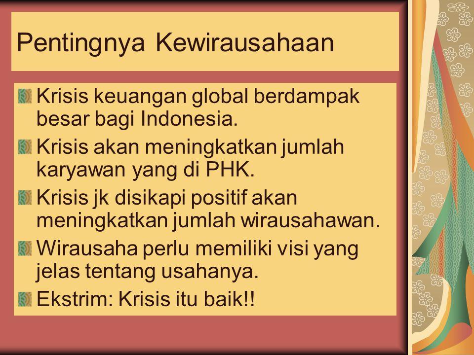 Pentingnya Kewirausahaan Krisis keuangan global berdampak besar bagi Indonesia. Krisis akan meningkatkan jumlah karyawan yang di PHK. Krisis jk disika
