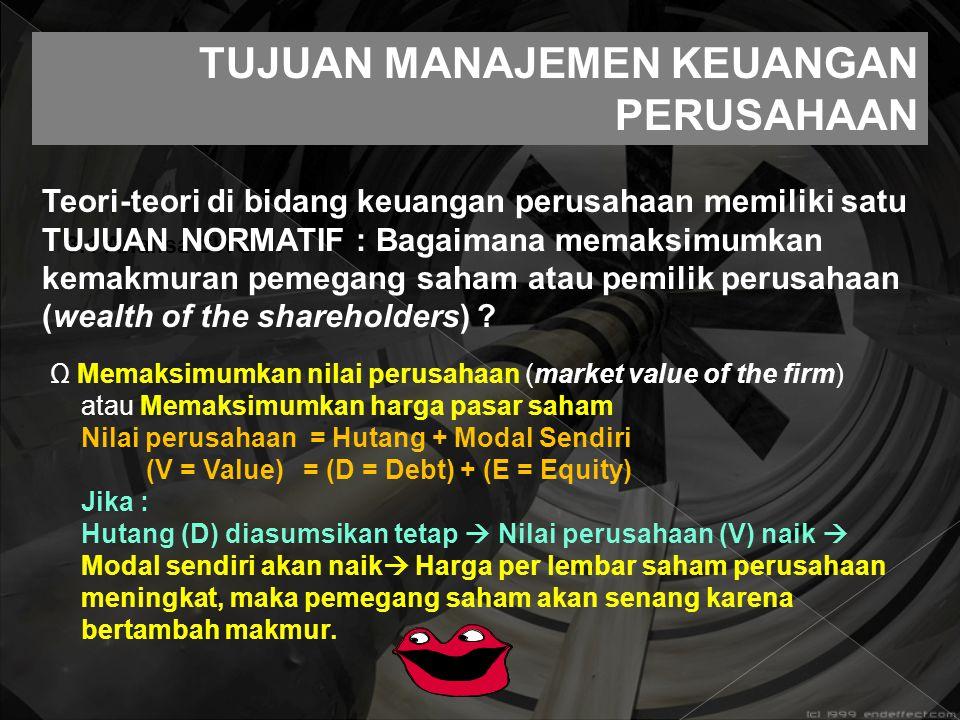 3.1 Analisa SWOT : TUJUAN MANAJEMEN KEUANGAN PERUSAHAAN Teori-teori di bidang keuangan perusahaan memiliki satu TUJUAN NORMATIF : Bagaimana memaksimum