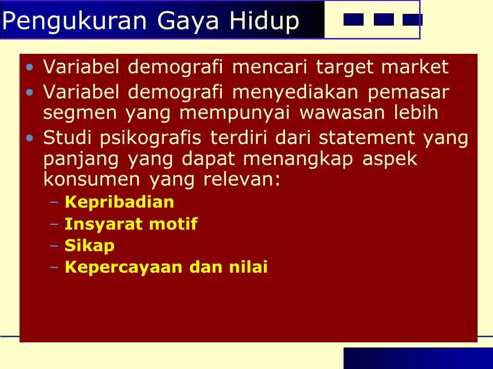•Variabel demografi mencari target market •Variabel demografi menyediakan pemasar segmen yang mempunyai wawasan lebih •Studi psikografis terdiri dari