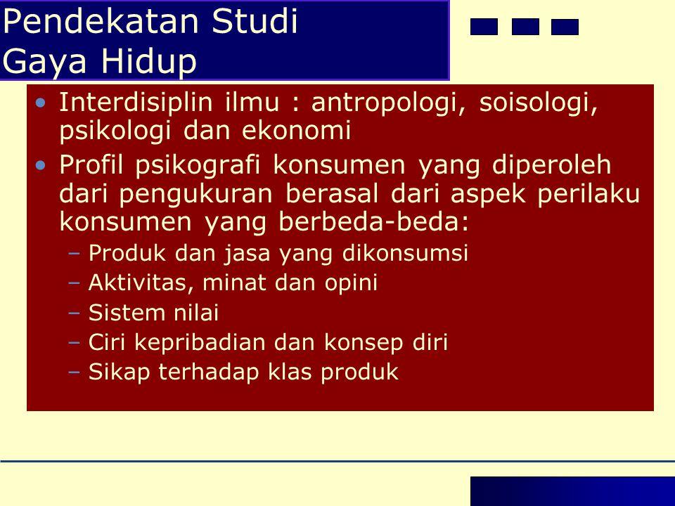 •Interdisiplin ilmu : antropologi, soisologi, psikologi dan ekonomi •Profil psikografi konsumen yang diperoleh dari pengukuran berasal dari aspek peri