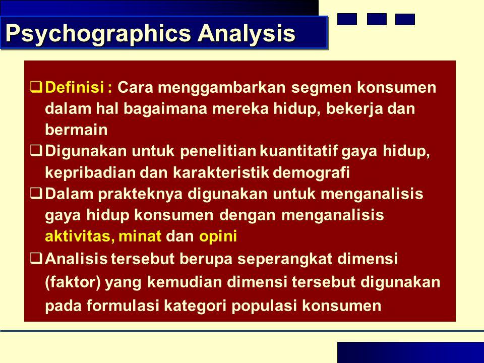  Definisi : Cara menggambarkan segmen konsumen dalam hal bagaimana mereka hidup, bekerja dan bermain  Digunakan untuk penelitian kuantitatif gaya hi