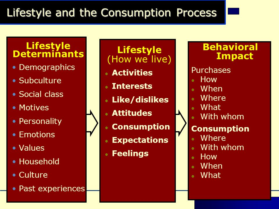 Lifestyle and the Consumption Process Lifestyle Determinants •Demographics •Subculture •Social class •Motives •Personality •Emotions •Values •Household •Culture •Past experiences Lifestyle (How we live)  Activities  Interests  Like/dislikes  Attitudes  Consumption  Expectations  Feelings Behavioral Impact Purchases  How  When  Where  What  With whom Consumption  Where  With whom  How  When  What