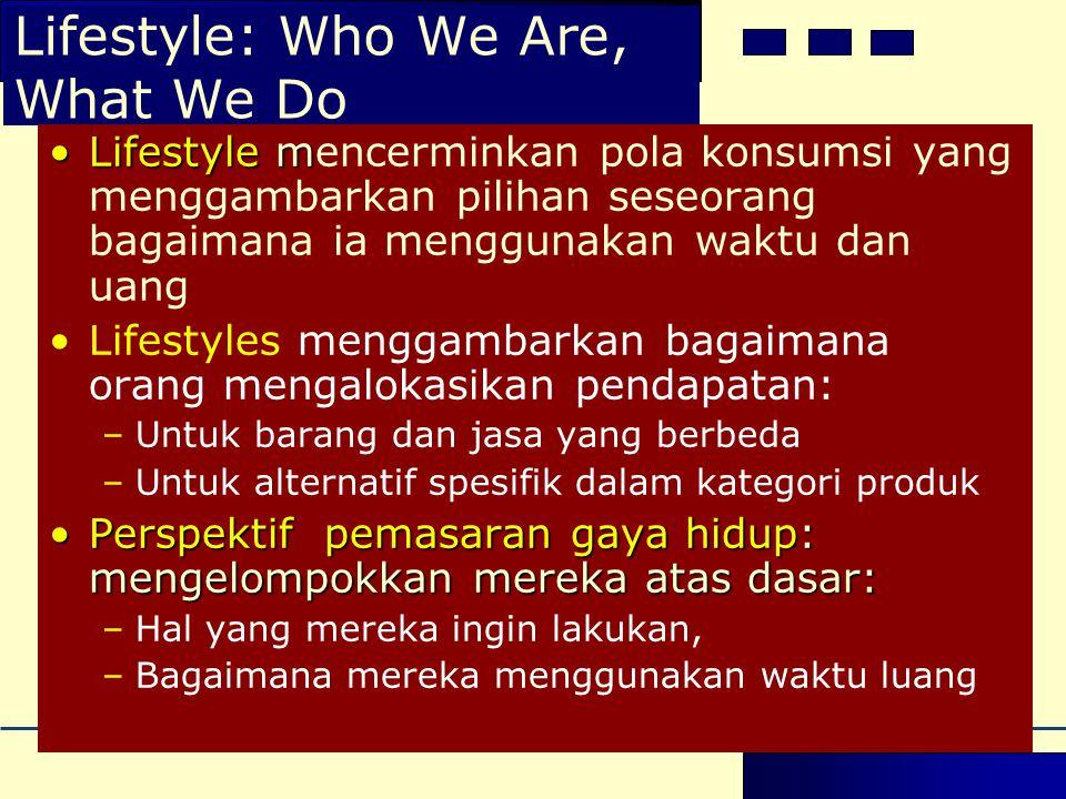 Lifestyle: Who We Are, What We Do •Lifestyle m •Lifestyle mencerminkan pola konsumsi yang menggambarkan pilihan seseorang bagaimana ia menggunakan wak