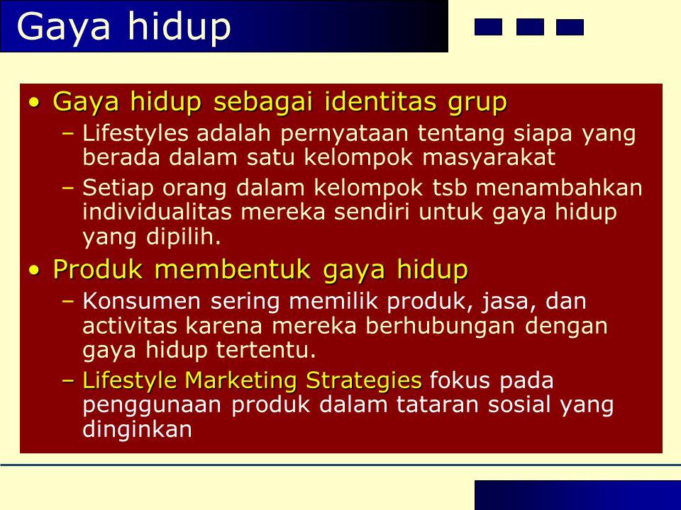 Gaya hidup •Gaya hidup sebagai identitas grup –Lifestyles adalah pernyataan tentang siapa yang berada dalam satu kelompok masyarakat –Setiap orang dal