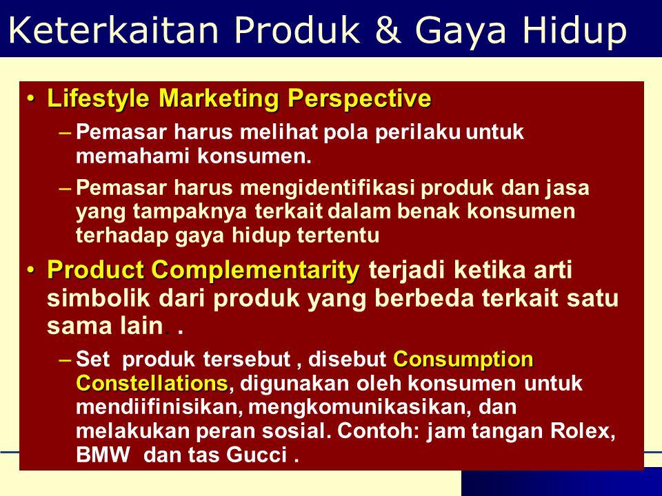 •Lifestyle Marketing Perspective –Pemasar harus melihat pola perilaku untuk memahami konsumen. –Pemasar harus mengidentifikasi produk dan jasa yang ta