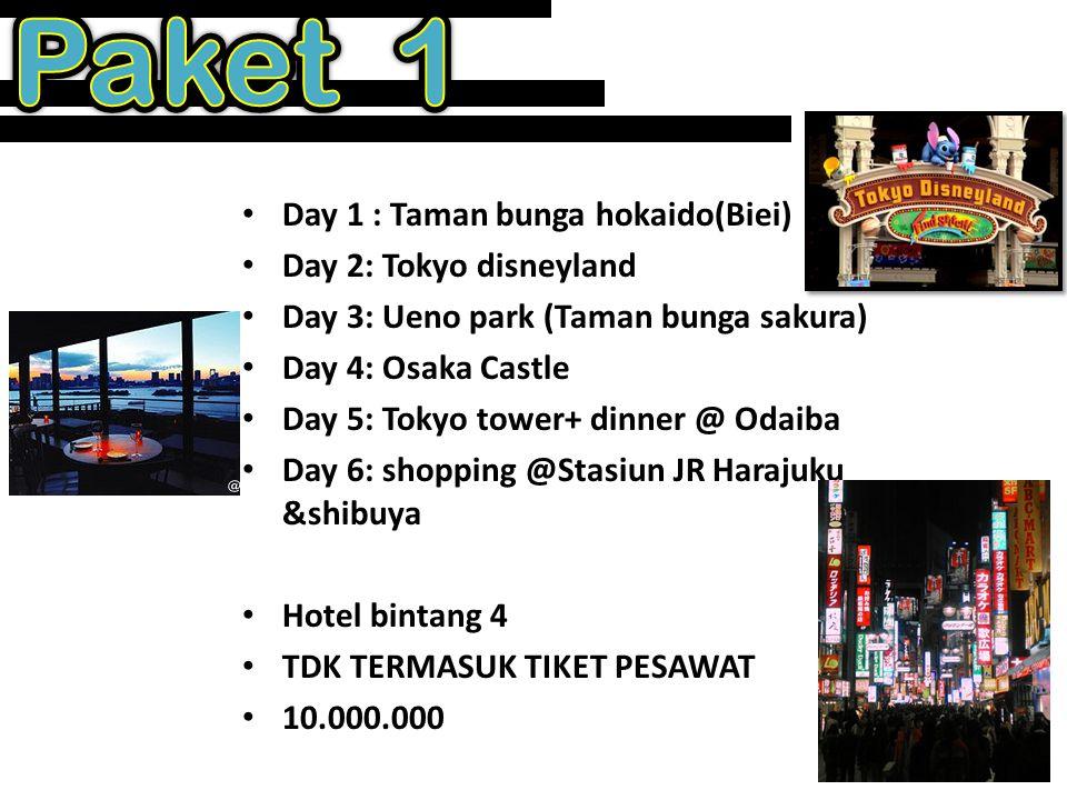 • Day 1 : Taman bunga hokaido(Biei) • Day 2: Tokyo disneyland • Day 3: Osaka Castle • Day 4: Tokyo tower+ dinner @ Odaiba • Day 5: shopping @Stasiun JR Harajuku &shibuya • Hotel bintang 3 • TDK TERMASUK TIKET PESAWAT • 8.000.000