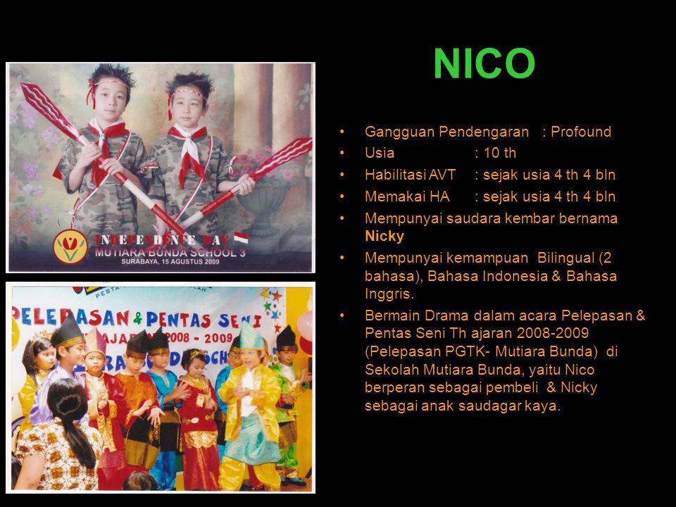 NICO •Gangguan Pendengaran : Profound •Usia: 10 th •Habilitasi AVT : sejak usia 4 th 4 bln •Memakai HA : sejak usia 4 th 4 bln •Mempunyai saudara kemb