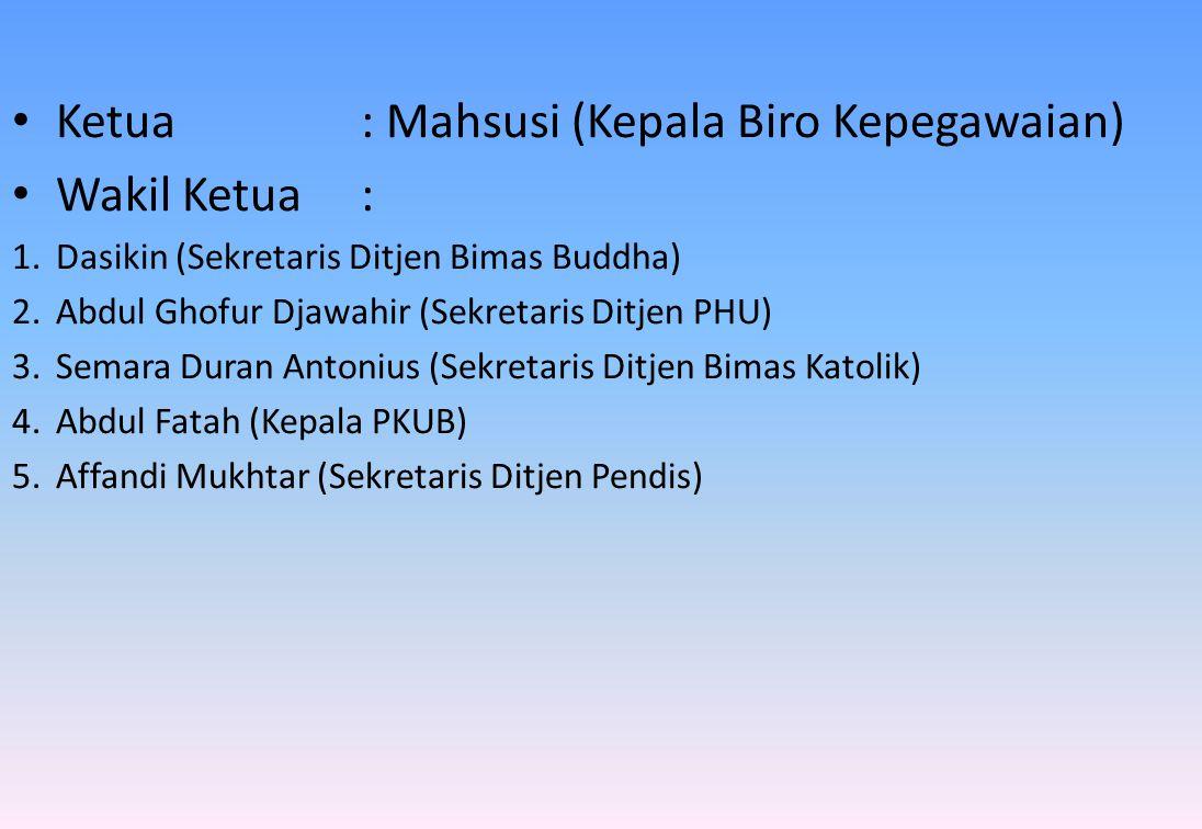 • Ketua: Mahsusi (Kepala Biro Kepegawaian) • Wakil Ketua : 1.Dasikin (Sekretaris Ditjen Bimas Buddha) 2.Abdul Ghofur Djawahir (Sekretaris Ditjen PHU)