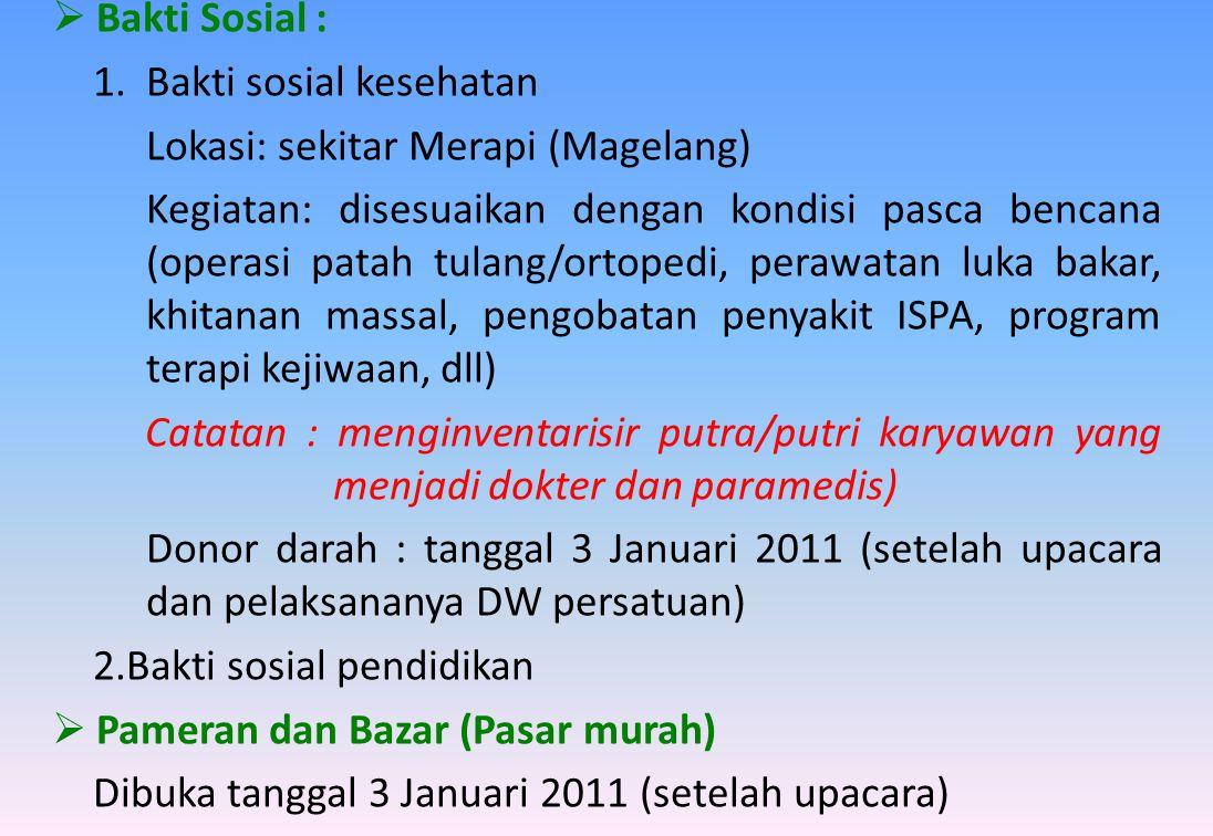  Bakti Sosial : 1.Bakti sosial kesehatan Lokasi: sekitar Merapi (Magelang) Kegiatan: disesuaikan dengan kondisi pasca bencana (operasi patah tulang/o
