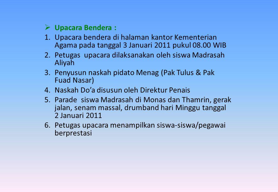  Malam Tasyakur : 1.Diselenggarakan di auditorium Kemenag Thamrin tanggal 3 Januari 2011 (pukul 19.00 s.d.