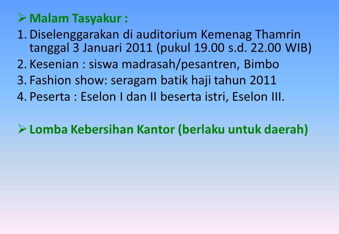  Malam Tasyakur : 1.Diselenggarakan di auditorium Kemenag Thamrin tanggal 3 Januari 2011 (pukul 19.00 s.d. 22.00 WIB) 2.Kesenian : siswa madrasah/pes