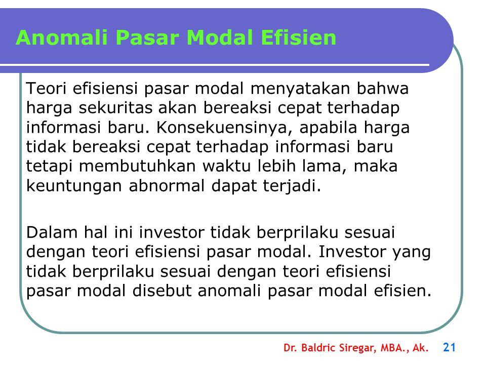 Dr. Baldric Siregar, MBA., Ak. 21 Anomali Pasar Modal Efisien Teori efisiensi pasar modal menyatakan bahwa harga sekuritas akan bereaksi cepat terhada