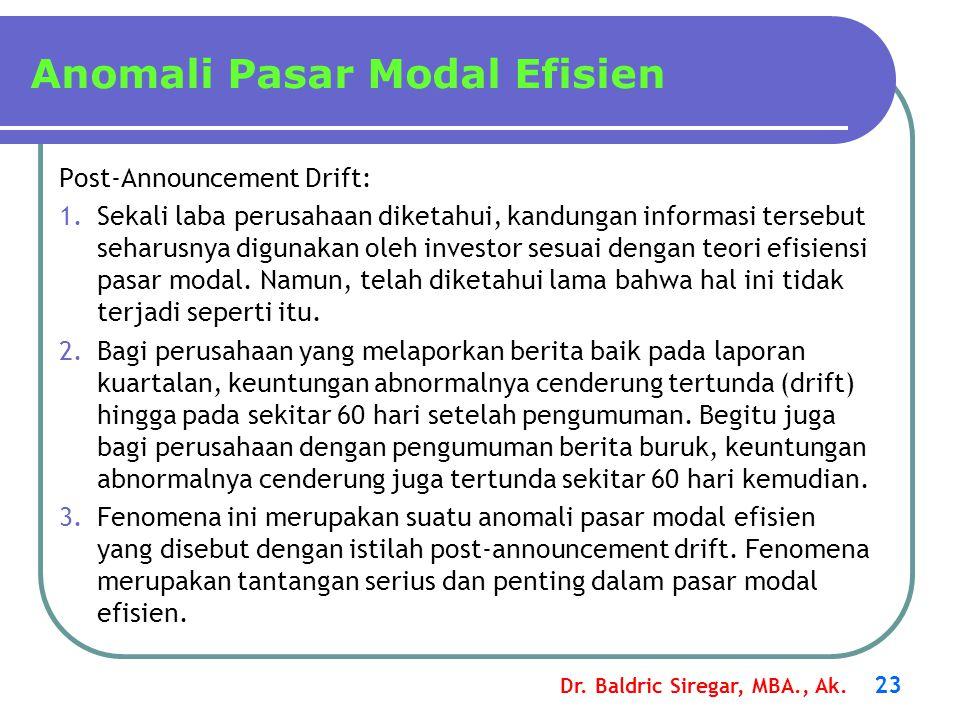 Dr. Baldric Siregar, MBA., Ak. 23 Anomali Pasar Modal Efisien Post-Announcement Drift: 1.Sekali laba perusahaan diketahui, kandungan informasi tersebu