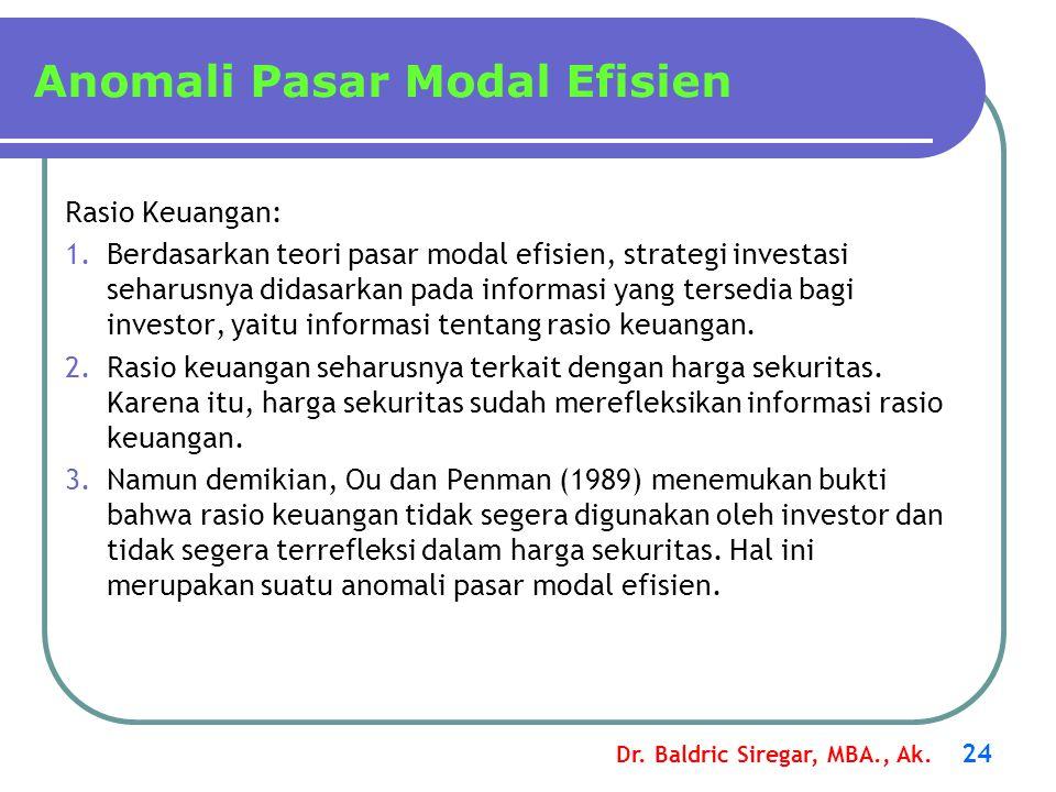 Dr. Baldric Siregar, MBA., Ak. 24 Anomali Pasar Modal Efisien Rasio Keuangan: 1.Berdasarkan teori pasar modal efisien, strategi investasi seharusnya d