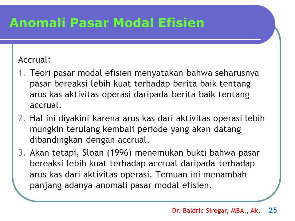 Dr. Baldric Siregar, MBA., Ak. 25 Anomali Pasar Modal Efisien Accrual: 1.Teori pasar modal efisien menyatakan bahwa seharusnya pasar bereaksi lebih ku