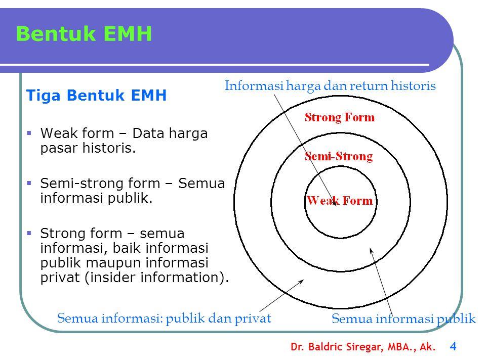 Dr. Baldric Siregar, MBA., Ak. 4 Bentuk EMH Tiga Bentuk EMH  Weak form – Data harga pasar historis.  Semi-strong form – Semua informasi publik.  St