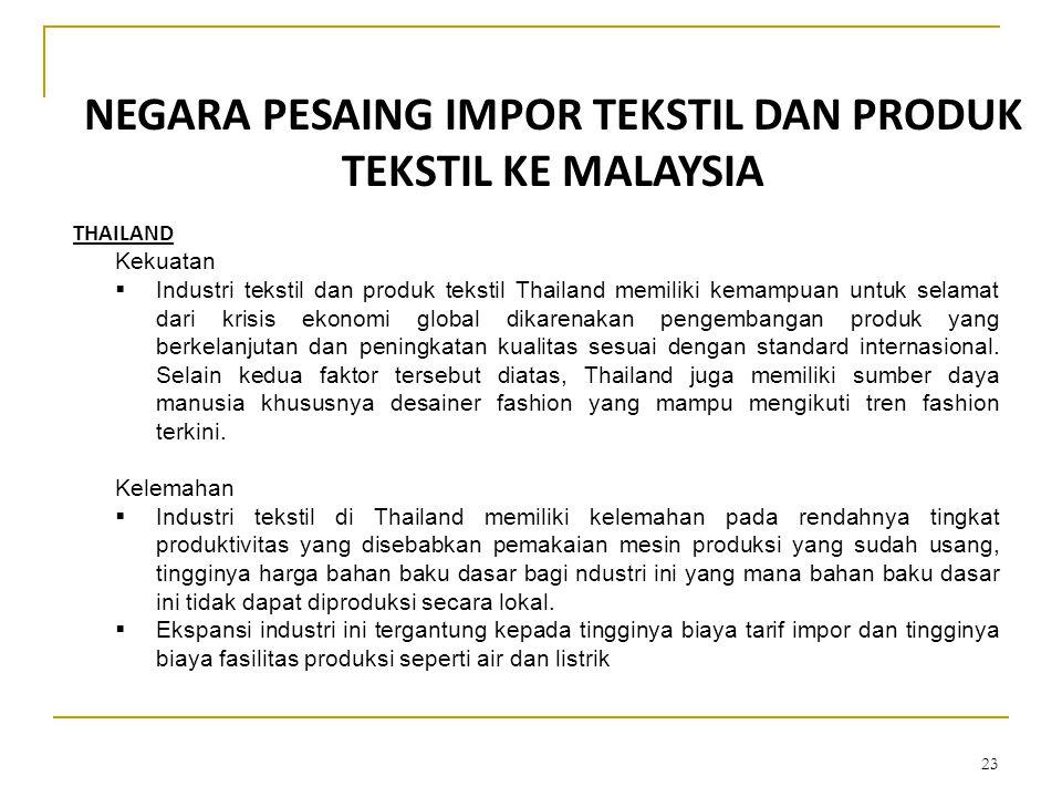 23 NEGARA PESAING IMPOR TEKSTIL DAN PRODUK TEKSTIL KE MALAYSIA THAILAND Kekuatan  Industri tekstil dan produk tekstil Thailand memiliki kemampuan unt