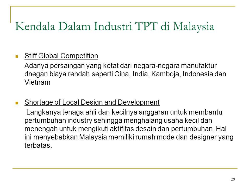 29 Kendala Dalam Industri TPT di Malaysia  Stiff Global Competition Adanya persaingan yang ketat dari negara-negara manufaktur dnegan biaya rendah se
