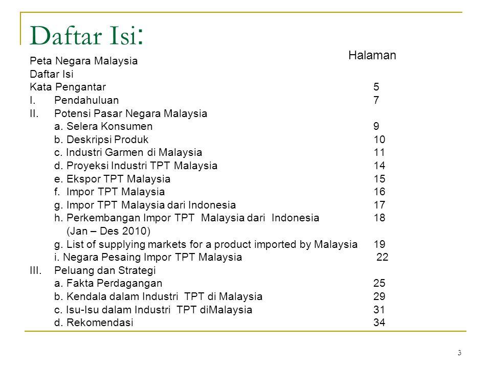 3 Daftar Isi : Peta Negara Malaysia Daftar Isi Kata Pengantar5 I.Pendahuluan7 II.Potensi Pasar Negara Malaysia a. Selera Konsumen9 b. Deskripsi Produk