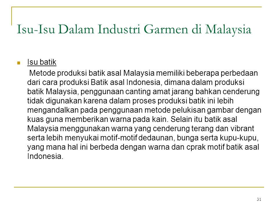 31 Isu-Isu Dalam Industri Garmen di Malaysia  Isu batik Metode produksi batik asal Malaysia memiliki beberapa perbedaan dari cara produksi Batik asal