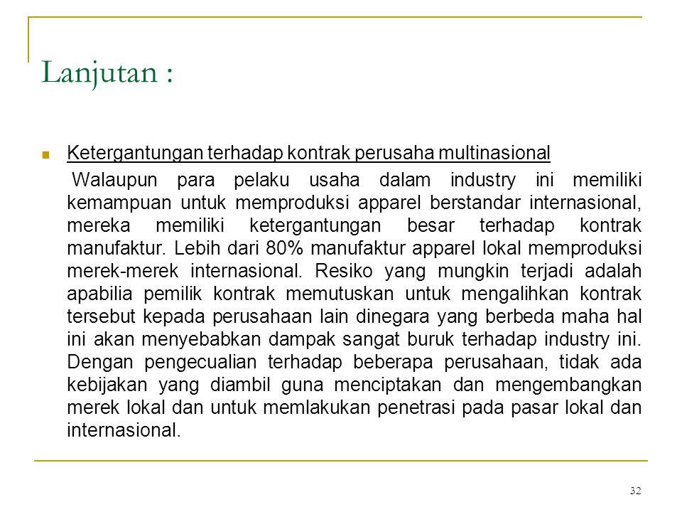 32 Lanjutan :  Ketergantungan terhadap kontrak perusaha multinasional Walaupun para pelaku usaha dalam industry ini memiliki kemampuan untuk memprodu