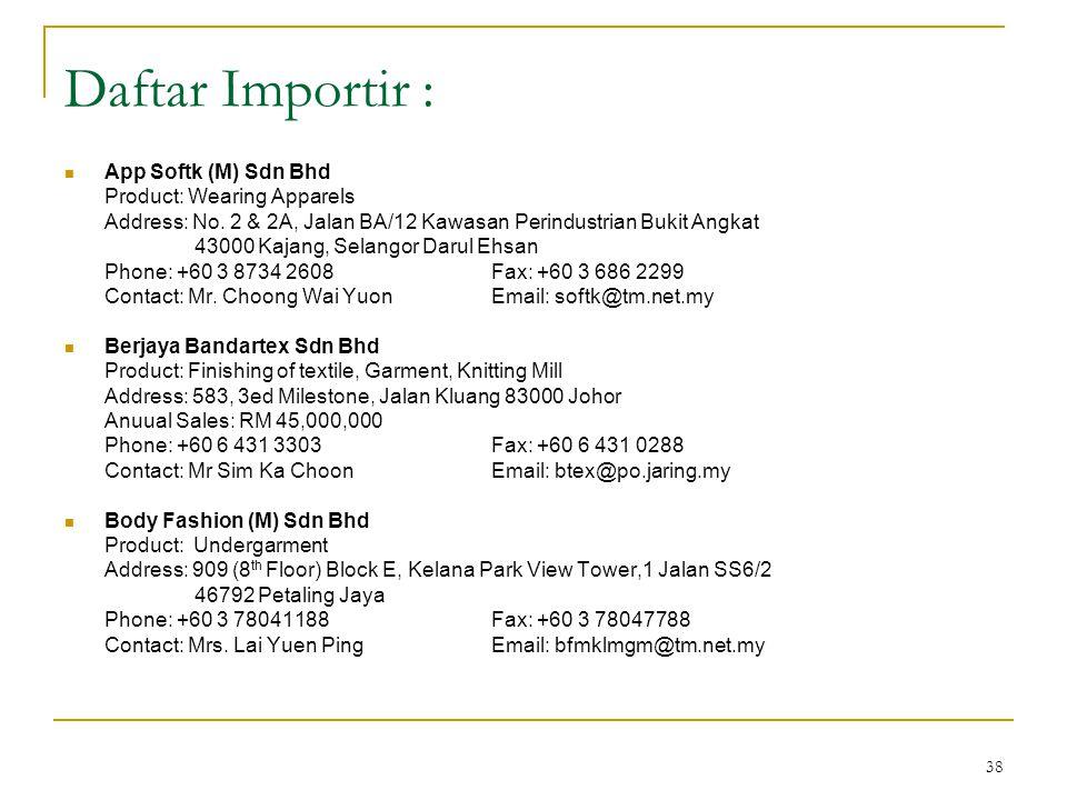 38 Daftar Importir :  App Softk (M) Sdn Bhd Product: Wearing Apparels Address: No. 2 & 2A, Jalan BA/12 Kawasan Perindustrian Bukit Angkat 43000 Kajan