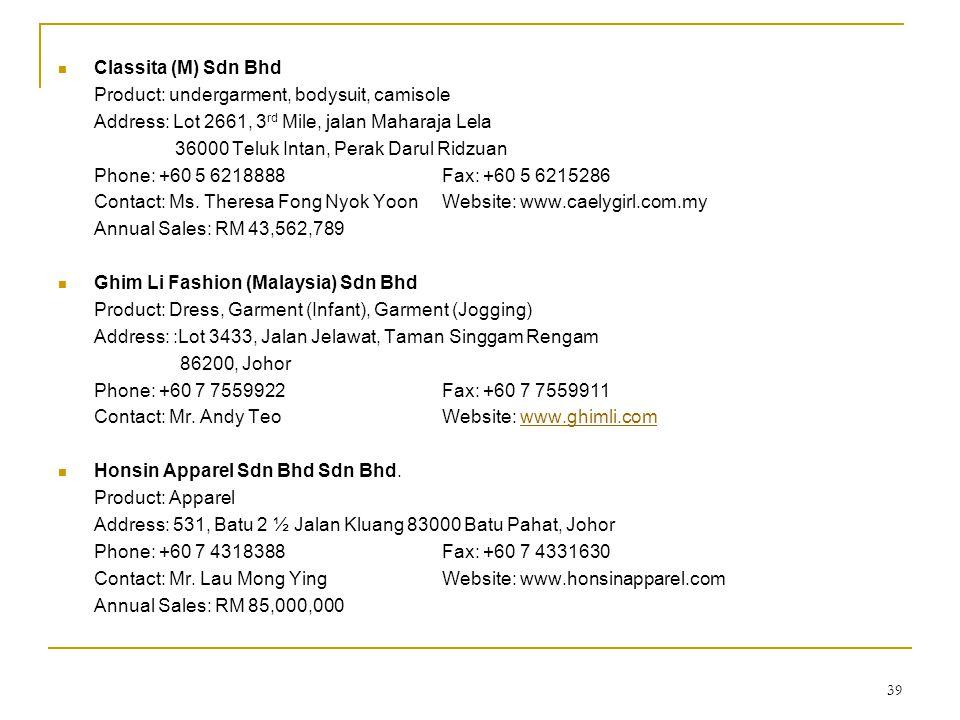 39  Classita (M) Sdn Bhd Product: undergarment, bodysuit, camisole Address: Lot 2661, 3 rd Mile, jalan Maharaja Lela 36000 Teluk Intan, Perak Darul R