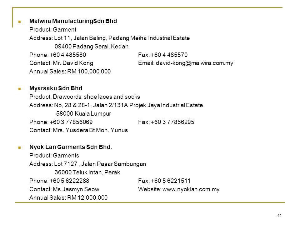 41  Malwira ManufacturingSdn Bhd Product: Garment Address: Lot 11, Jalan Baling, Padang Meiha Industrial Estate 09400 Padang Serai, Kedah Phone: +60