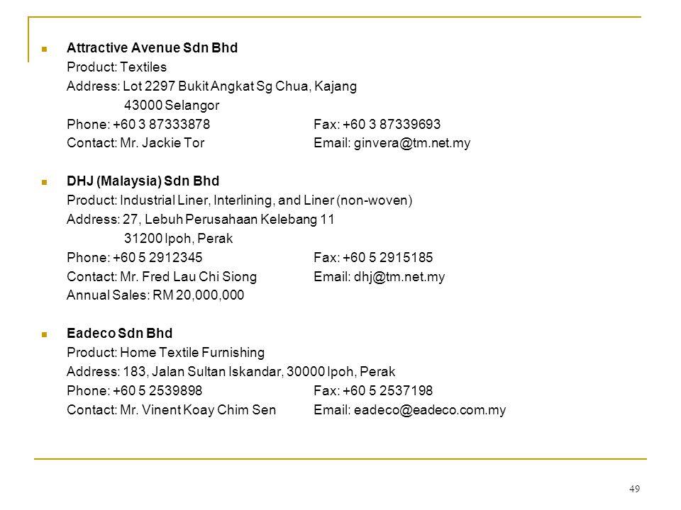49  Attractive Avenue Sdn Bhd Product: Textiles Address: Lot 2297 Bukit Angkat Sg Chua, Kajang 43000 Selangor Phone: +60 3 87333878Fax: +60 3 8733969