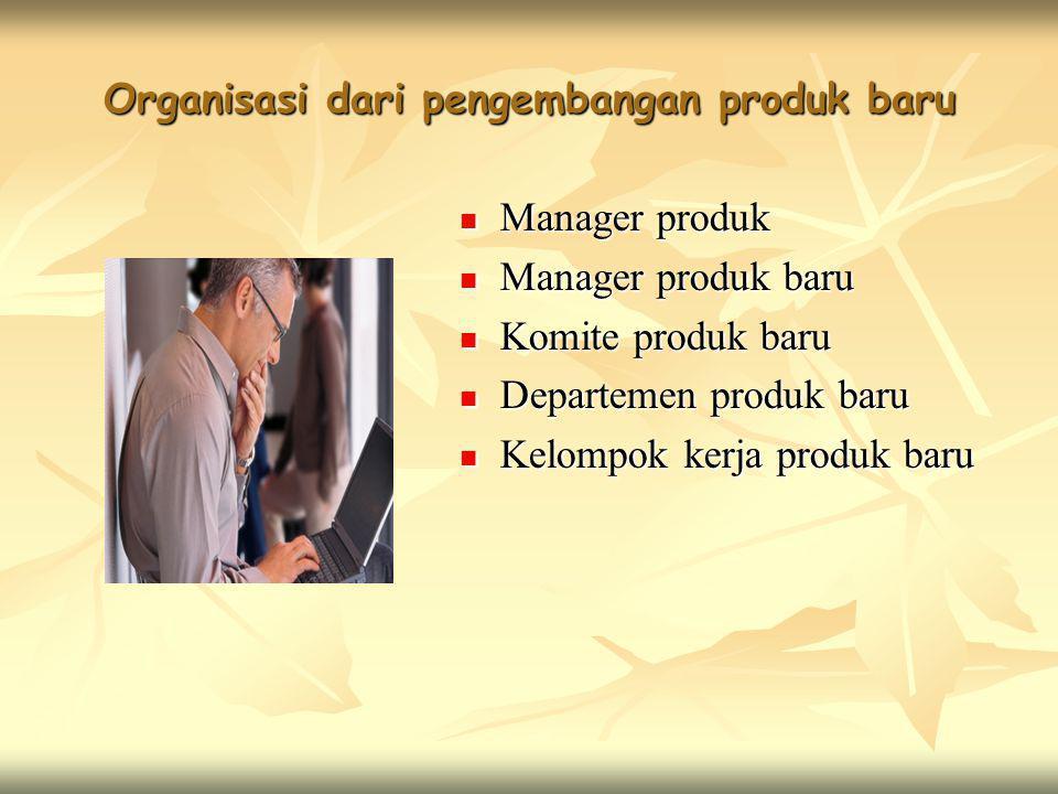 Organisasi dari pengembangan produk baru  Manager produk  Manager produk baru  Komite produk baru  Departemen produk baru  Kelompok kerja produk