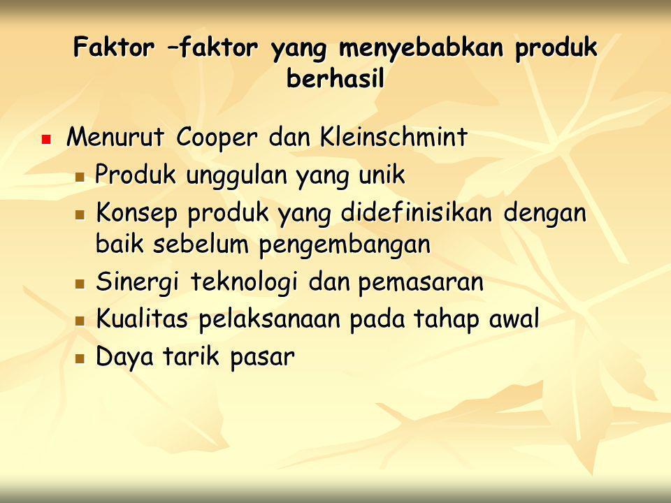 Faktor –faktor yang menyebabkan produk berhasil  Menurut Cooper dan Kleinschmint  Produk unggulan yang unik  Konsep produk yang didefinisikan denga