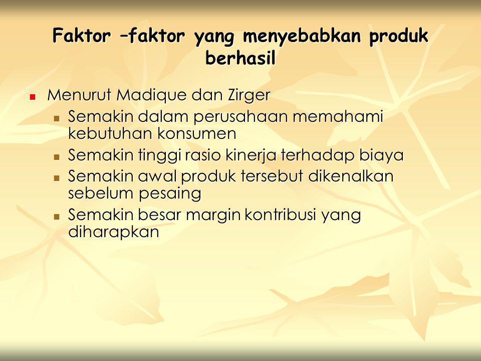 Faktor –faktor yang menyebabkan produk berhasil  Menurut Madique dan Zirger  Semakin dalam perusahaan memahami kebutuhan konsumen  Semakin tinggi r