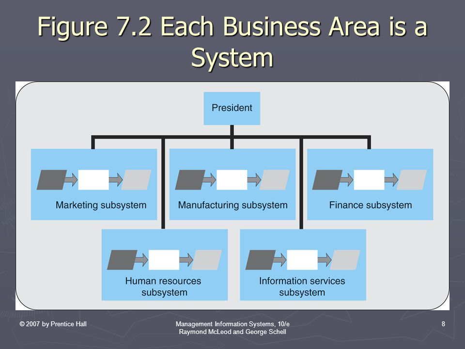© 2007 by Prentice HallManagement Information Systems, 10/e Raymond McLeod and George Schell 8 Figure 7.2 Each Business Area is a System
