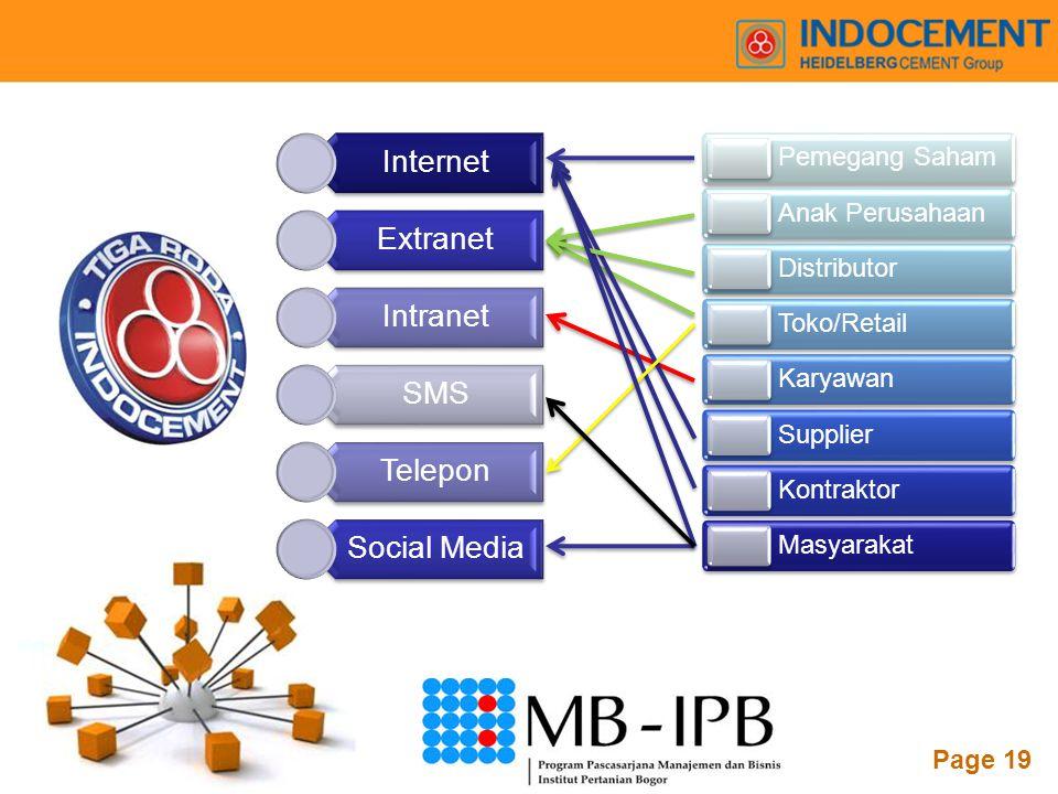 Powerpoint Templates Page 19 Internet Extranet Intranet SMS Telepon Social Media Pemegang Saham Anak Perusahaan Distributor Toko/Retail Karyawan Suppl