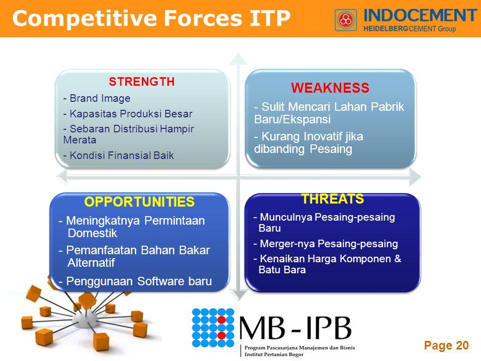Powerpoint Templates Page 20 Competitive Forces ITP STRENGTH - Brand Image - Kapasitas Produksi Besar - Sebaran Distribusi Hampir Merata - Kondisi Fin