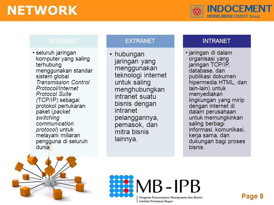 Powerpoint Templates Page 8 INTERNET •seluruh jaringan komputer yang saling terhubung menggunakan standar sistem global Transmission Control Protocol/