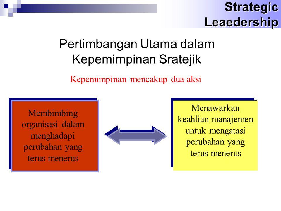 Pertimbangan Utama dalam Kepemimpinan Sratejik Kepemimpinan mencakup dua aksi Membimbing organisasi dalam menghadapi perubahan yang terus menerus Menawarkan keahlian manajemen untuk mengatasi perubahan yang terus menerus Strategic Leaedership