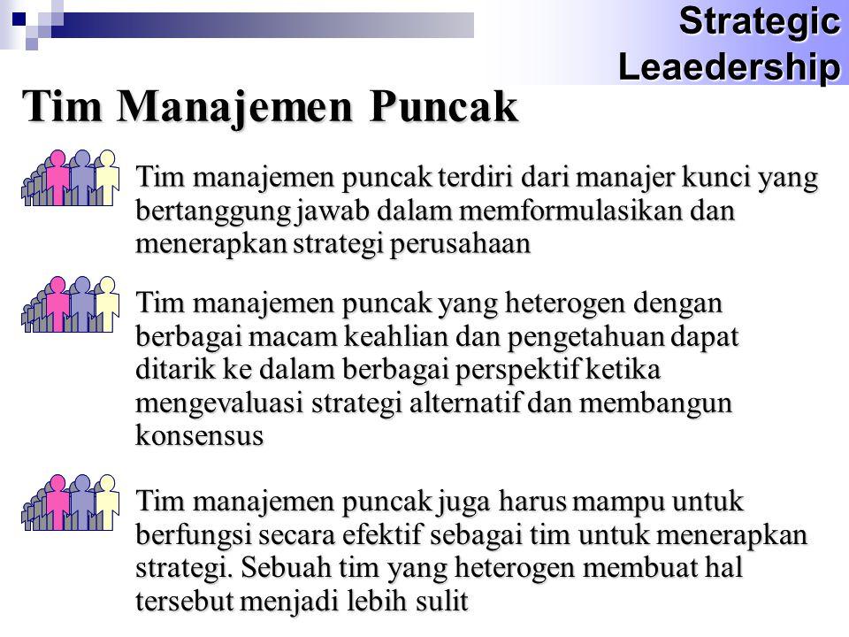Tim Manajemen Puncak Tim manajemen puncak terdiri dari manajer kunci yang bertanggung jawab dalam memformulasikan dan menerapkan strategi perusahaan T
