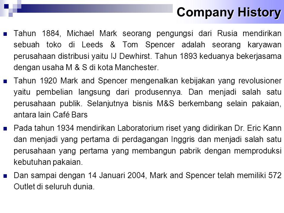 Company History  Tahun 1884, Michael Mark seorang pengungsi dari Rusia mendirikan sebuah toko di Leeds & Tom Spencer adalah seorang karyawan perusaha