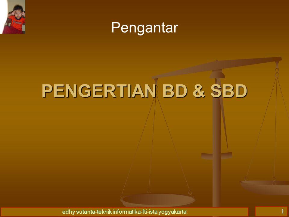 edhy sutanta-teknik informatika-fti-ista yogyakarta 1 PENGERTIAN BD & SBD Pengantar
