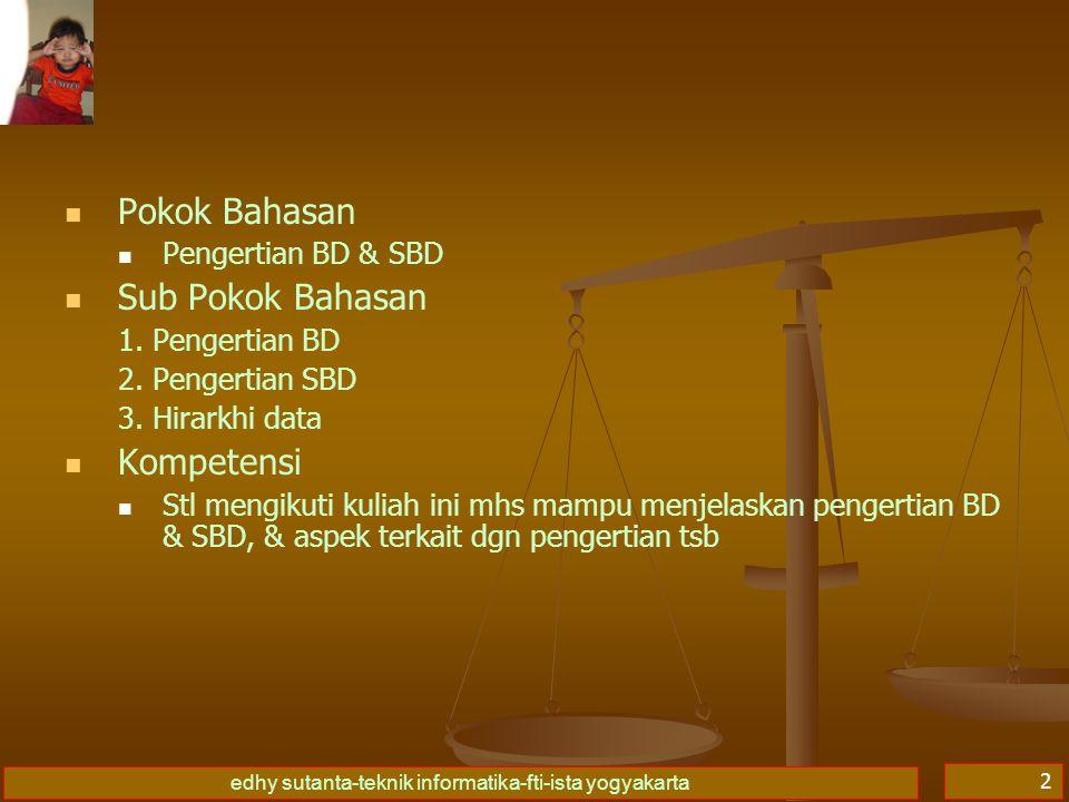 edhy sutanta-teknik informatika-fti-ista yogyakarta 2   Pokok Bahasan   Pengertian BD & SBD   Sub Pokok Bahasan 1. Pengertian BD 2. Pengertian S