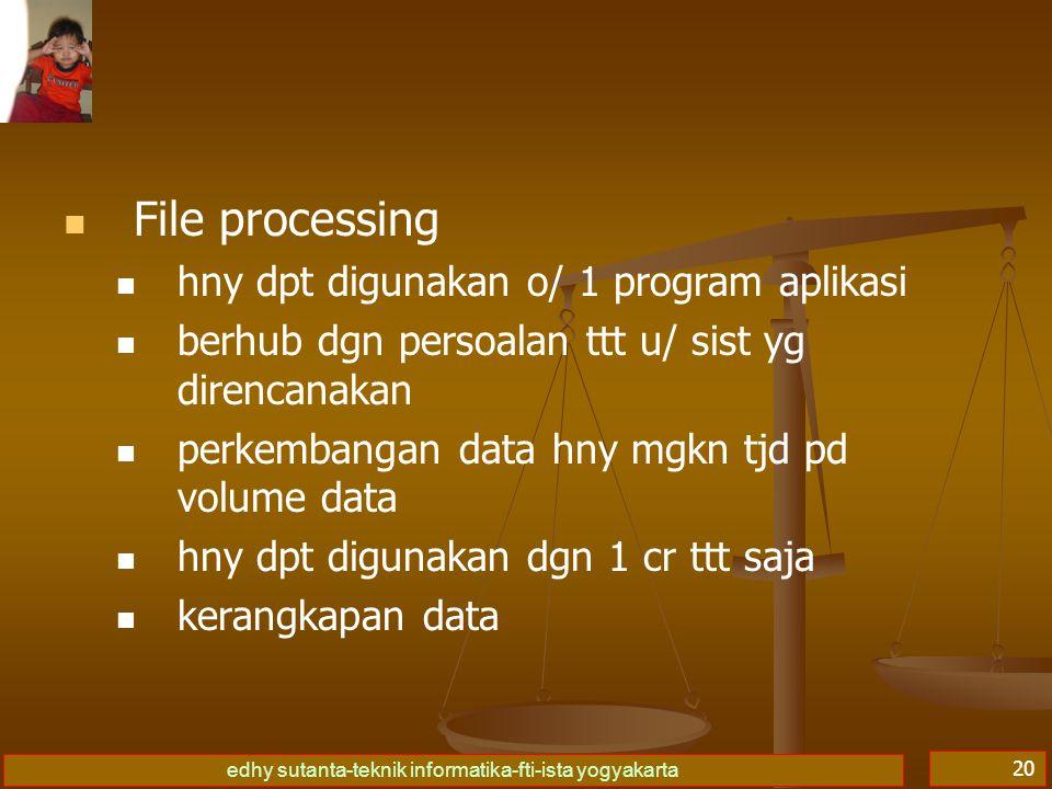 edhy sutanta-teknik informatika-fti-ista yogyakarta 20   File processing   hny dpt digunakan o/ 1 program aplikasi   berhub dgn persoalan ttt u/ sist yg direncanakan   perkembangan data hny mgkn tjd pd volume data   hny dpt digunakan dgn 1 cr ttt saja   kerangkapan data