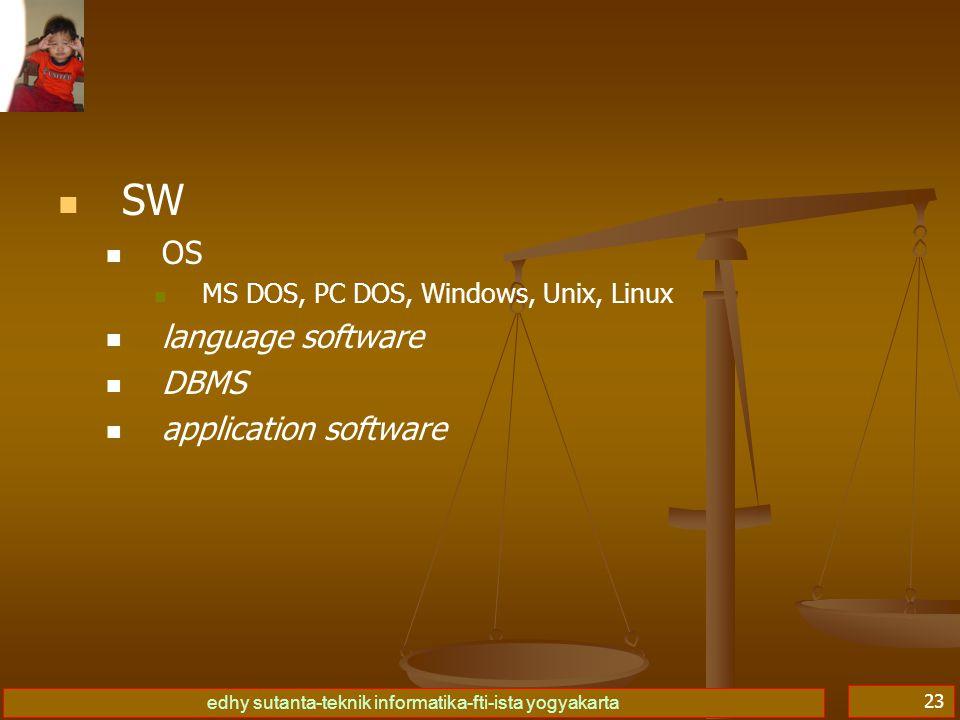 edhy sutanta-teknik informatika-fti-ista yogyakarta 23   SW   OS   MS DOS, PC DOS, Windows, Unix, Linux   language software   DBMS   application software