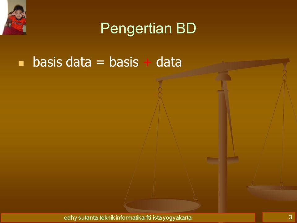 edhy sutanta-teknik informatika-fti-ista yogyakarta 3 Pengertian BD   basis data = basis + data