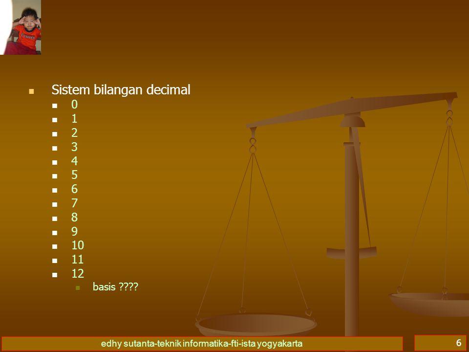 edhy sutanta-teknik informatika-fti-ista yogyakarta 7   Sistem bilangan hexadecimal 00 11 22 33 44 55 66 77 88 99 AA BB CC DD EE FF   10   11   12   basis ????