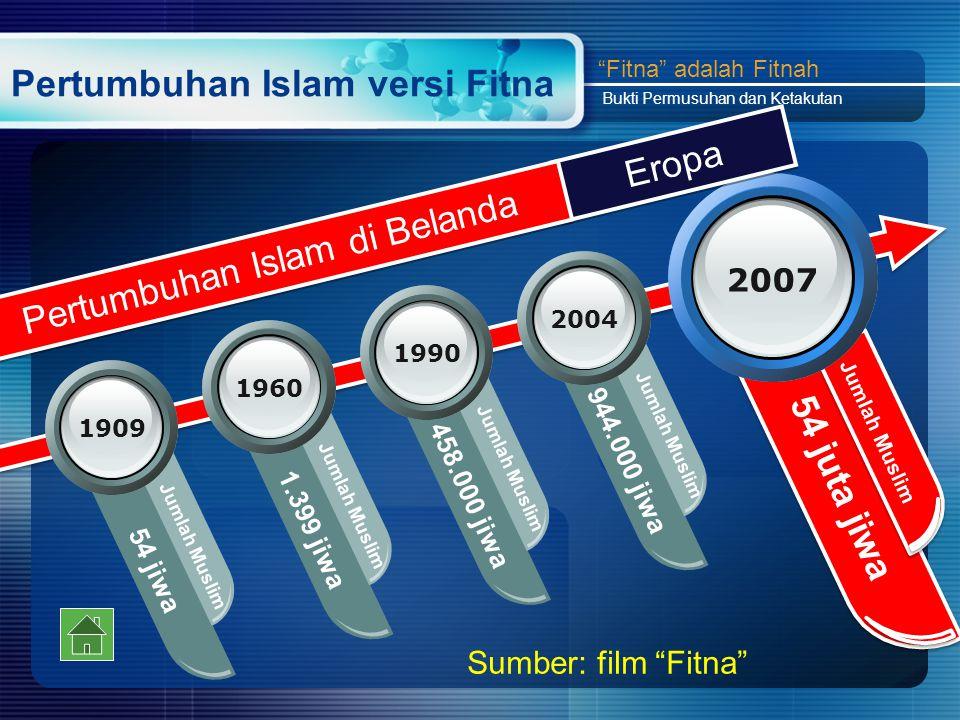 Pertumbuhan Islam versi Fitna 54 jiwa Jumlah Muslim 1909 1.399 jiwa 1960 Jumlah Muslim 458.000 jiwa 1990 Jumlah Muslim 944.000 jiwa 2004 Jumlah Muslim 54 juta jiwa 2007 Jumlah Muslim Fitna adalah Fitnah Bukti Permusuhan dan Ketakutan Sumber: film Fitna Eropa Pertumbuhan Islam di Belanda
